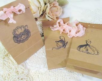 Teacup Teapot Bridal Dress Favor Kraft Bags with Ribbons - Set of 10 -Choose Ribbons & Ink - Bridal Lingerie Shower Tea Party Gift Bags