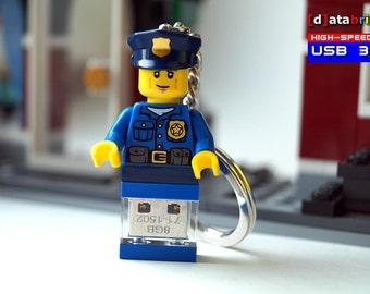 USB 3.0 Flash Drive in a original Lego® Keychain Figure Police Cop