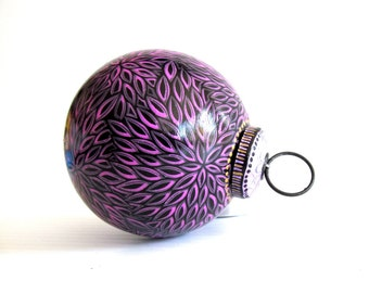 Purple and black Christmas ornaments Hand painted glass ornaments