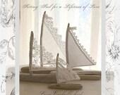 Four Beautiful Driftwood Beach Decor Wedding Sailboats  Vintage Textile Sail Bohemian Inspired Romance Seaside Lakeside Cottage