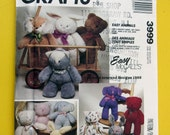 McCalls Crafts 3999 Easy Stuffed Animals Bear Rabbit Cat Dog