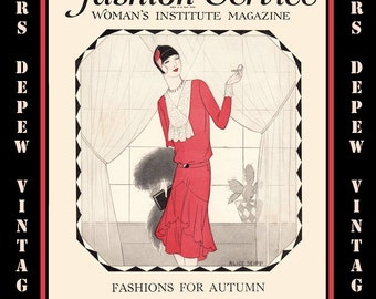 Vintage Sewing Magazine October, 1929 Fashion Service Dressmaking Sewing and Fashion E-book -INSTANT DOWNLOAD-