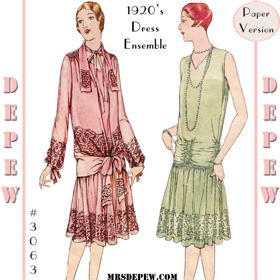 1920s Patterns – Vintage, Reproduction Sewing Patterns  1920s Martial et Armand Couture Dress #3063 - Full Sized PAPER VERSION $27.00 AT vintagedancer.com
