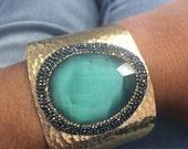 Turquoise Cuff Bracelt, Gold Plated, Gemstone Crystal Quartz Cuff