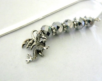 Dragon Bookmark with Silver Glass Beads Shepherd Hook Steel Bookmark Silver Color