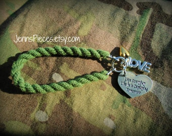 BRACELET:  Live Everyday Like He Is Deploying Tomorrow boot band blouser bracelet SSG45 USMC Army navy air force Marines deployment kuwait