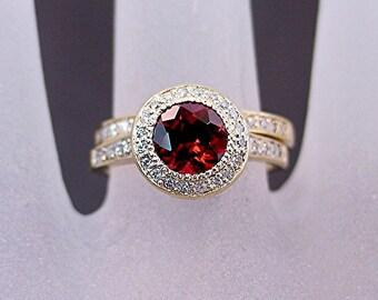 AAA Pyrope Red Garnet   7.00mm  1.78 Carats   14K Yellow gold diamond wedding set B007 0775