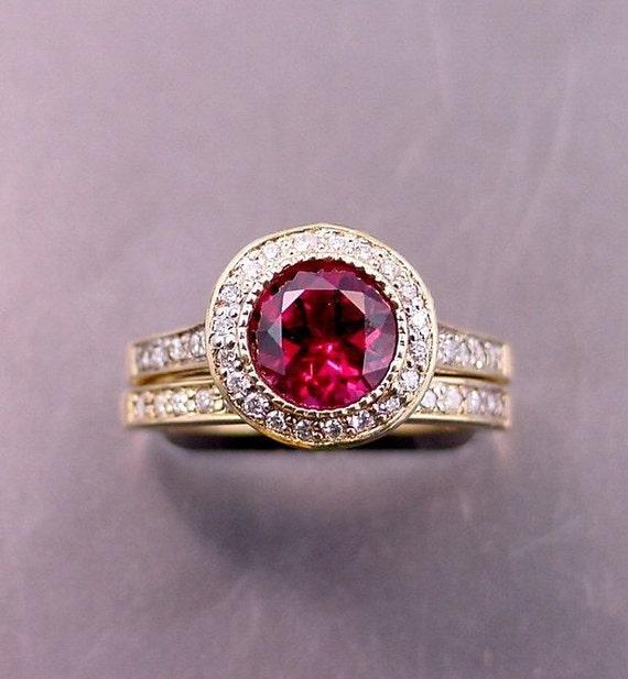 AAAA Pink Red Rhodolite Garnet   7.00mm  1.61 Carats   14K Yellow gold diamond bridal set. B007 0780