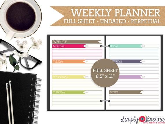 Undated Weekly Calendar : Undated two page weekly calendar printable colorful