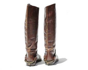 Vintage Women's Dark Brown Leather Tall Boots / size 9