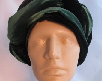 Vintage Velvet Double Turban Renn Faire Two Looks - Multiple Styles - Black Green - Theatrical Statement Turban - Novato CA Renn Faire