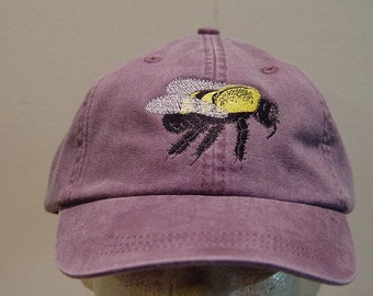 BUMBLEBEE HAT - One Embroidered Wildlife Cap - Price Embroidery Apparel - 24 Color Caps Available