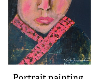 Acrylic Portrait Painting. Girl Wearing Pink Scarf Painting. Mixed Media Collage Art.