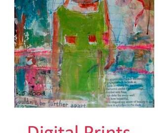 Girl Figure Painting Print. Home Wall Digital Art Prints. Pink Wall Hanging. Bedroom Wall Decor