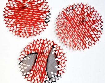 OOAK Fun {6} Handcut Doilies {6.0in/ 150mm dia} Red Rescued Magazines DIY Supplies Gift Wrap DIY Supplies Scrapbooking Embellishments