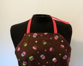 Full Apron - Small - Mini Cupcakes with Hot Pink Ties