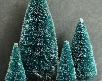 tall green bottle brush trees set of 4 miniature frosted evergreen sisal trees 6 - Bottle Brush Christmas Trees
