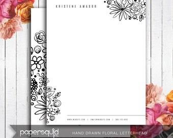 Digital PDF Floral Letterhead Hand drawn illustration, black and white - Diy Digital Printable PDF, letter size or A4 - #166