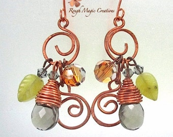 Autumn Leaves Earrings, Gift for Her, Boho Jewelry, Gemstones Swarovski Crystal Copper Rustic Earthy Woodland, Gift for Women, Gift for Wife