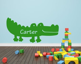 Friendly Alligator Name- Monogram - Wall Decals