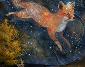 The Fox in the Starlight print | 8X10 | star fox art  print, constellation painting, woodland nursery decor baby shower | by Meluseena