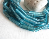 blue lampwork glass beads translucent  tube , aqua turquoise colored glass bead, rectangle prism shape, 22 to 27 x 5 to 6mm , 8 pcs - 5A37-1