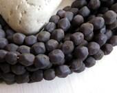 dark purple grey glass beads , nugget  beads , freeform , dark matte lampwork beads ,  rustic gritty indonesian 10 beads  / 5a50