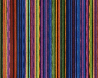 Pinstripe Paradise Multicolored Timeless Treasures Fabric 1 yard