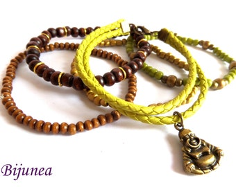 Green leather buda bracelet - Multi strand buda bracelet - Leather bracelet - Leather green bracelet - Multi strand leather bracelet b128