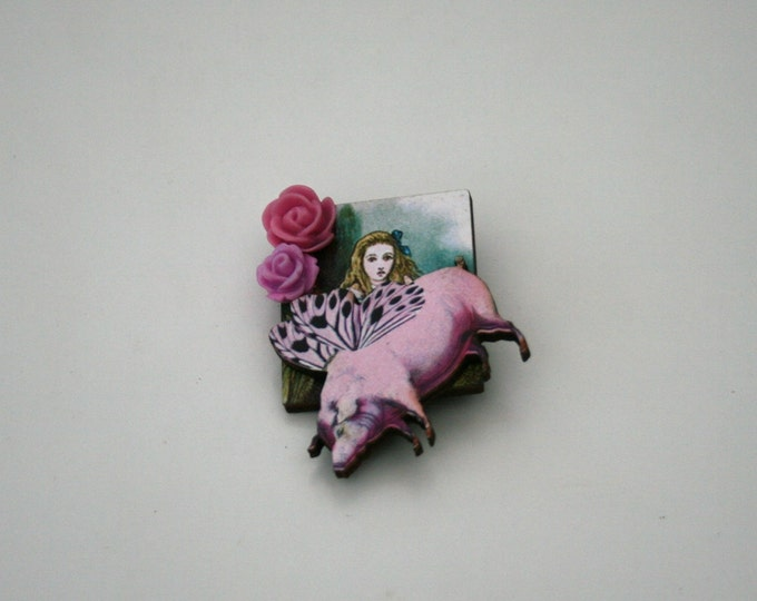 Alice in Wonderland Brooch, Pig Baby Brooch, Tenniel Illustration, Altered Art, Mixed Media, Wood Jewelry