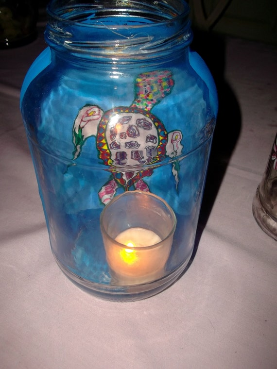 Clearance Sale Upcycled Recycled Large Glass Jar with Zentangle Sea Turtle Art Painting Great For Candles Solar Lights or As A Vase Garden