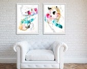 Abstract painting, Diptych Original mixed media painting on paper, large painting, minimalist painting Modern Art -