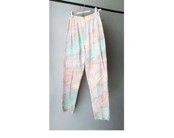 SALE - 1980's Ann Taylor Watercolor Pastel High Waist Cropped Pants