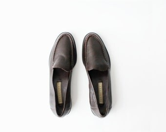 1980's Dark Brown Leather Moccasins Loafers