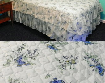 1970s Vintage White Quilted Comforter Blue Butterflies Babys Breath Ruffle Bed Skirt Full Bed Bedspread