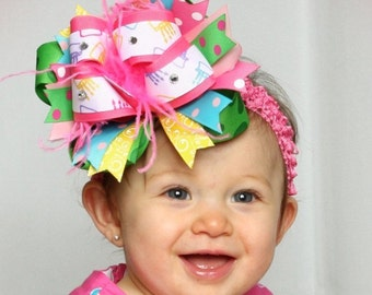 Over the Top Birthday Cake Hair Bow or Headband 6 inches-FREE HEADBAND INCLUDED