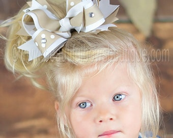 White and Khaki School Uniform Large Girls Hair Bow, 5 inch school uniform hair bow-White and Khaki Hair Bow for Private Schools