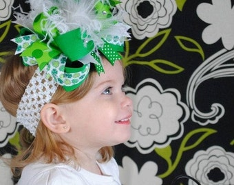 Over the Top Bow Saint Patricks Day Baby Headband,Baby Headbands,Baby Headband,St. Patrick Day Bows,Baby Girl Headband,ShamrockHeadband,