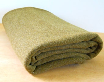 Vintage Green Wool Army Blanket • Vintage Military Bedding • Vintage Wool Olive Green Blanket