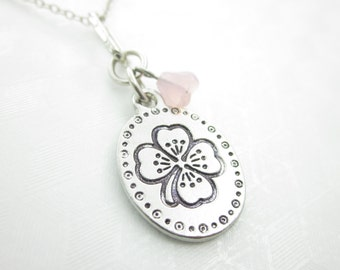 Clover Necklace, Four Leaf Clover Necklace, Shamrock Charm Necklace, Silver Clover Leaf Charm Necklace, Lucky Clover Necklace, X017