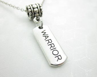 Warrior Necklace, Word Charm, Affirmation Pendant, Engraved, Stamped, Fits Pandora X052