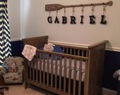 """58"""" 7-Peg Driftwood Stained Rack with Seven 6x5"""" Painted Name Letters with Nautical Rope / Nautical Nursery Decor / Canoe Oar"""