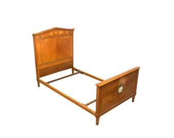 1870s Wedgwood China & Birdseye Maple Twin Bed, Fine English Furniture