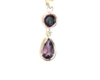Alexandrite and Amethyst Drop Pendant Necklace, made with sterling silver, Alexandrite necklace, Alexandrite pendant,  pendentif amethyst,