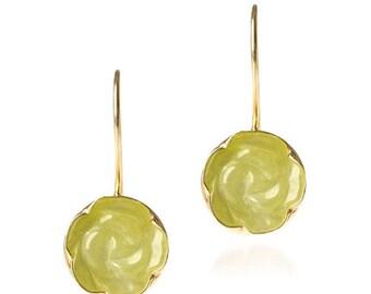 Rose Carved Yellow Jade Earrings