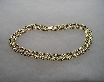 Vintage Wide X Gold tone Cleopatra Chain Necklace