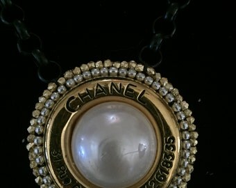 Gold and Black Necklace with Vintage Chanel  Earring with Address and Phone