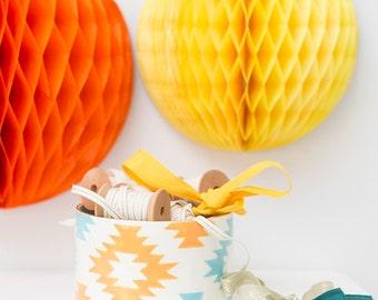ON SALE, Half Off, Handmade, Ceramic, Bowl, Luxury, Gift, Gold Edged, Light Blue, Yellow, Tribal