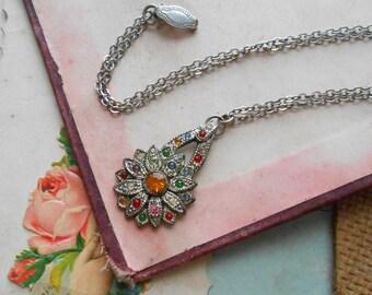 art deco flower multi color rainbow rhinestone charm necklace