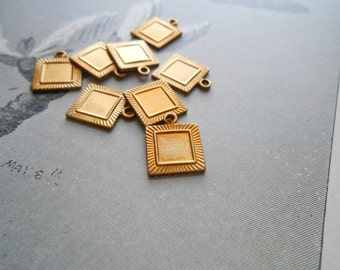 8 pcs small square setting charms - vintage brass charms - use for settings or enamel work - old new stock